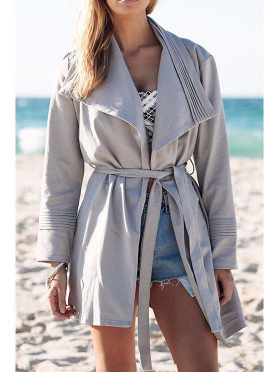 womens Gray Turn Down Collar Long Sleeve Trench Coat - GRAY S