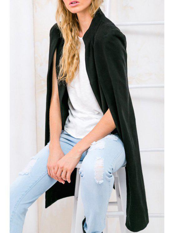 best Pure Color Asymmetric Double-Faced Cape Coat - BLACK M