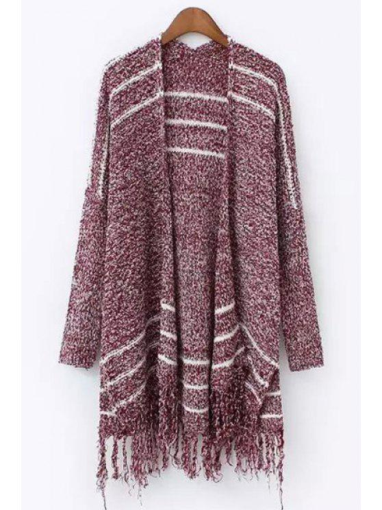 shops Open Front Fringed Mixed Color Cardigan - RED ONE SIZE(FIT SIZE XS TO M)