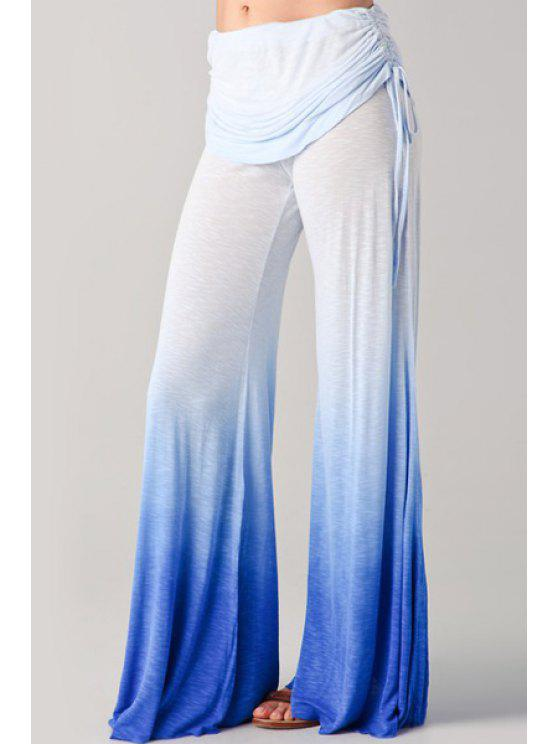 outfit Ombre Color High Waist Palazzo Pants - BLUE S