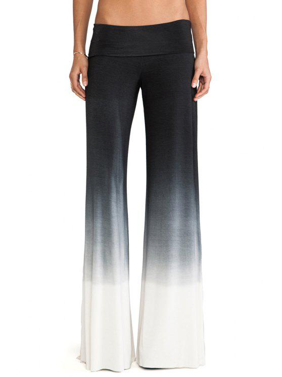 chic Elastic Waist Ombre Color Palazzo Pants - BLACK S