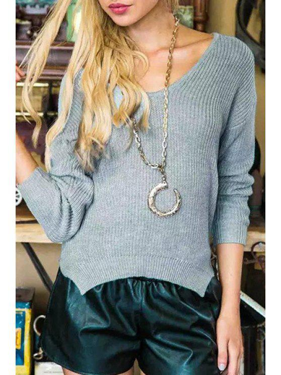 women's Pure Color Knitted Loose Fitting Long Sleeves Sweater - GRAY ONE SIZE(FIT SIZE XS TO M)