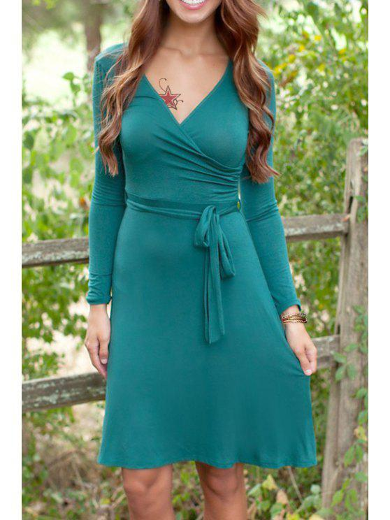 Solide Couleur col V à manches longues robe - Vert M