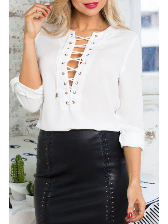best Solid Color Lace-Up Loose Fitting Plunging Neck Shirt - WHITE S