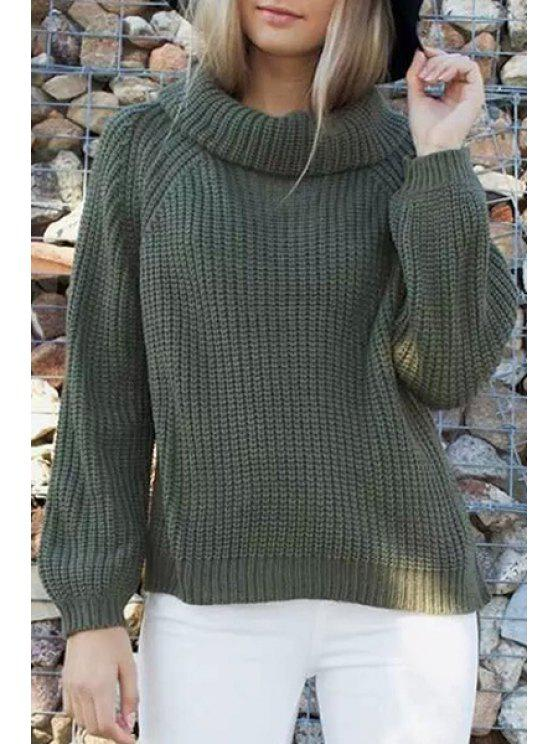 lady Pure Color Knitted Loose Fitting Turtle Neck Sweater - GREEN ONE SIZE(FIT SIZE XS TO M)