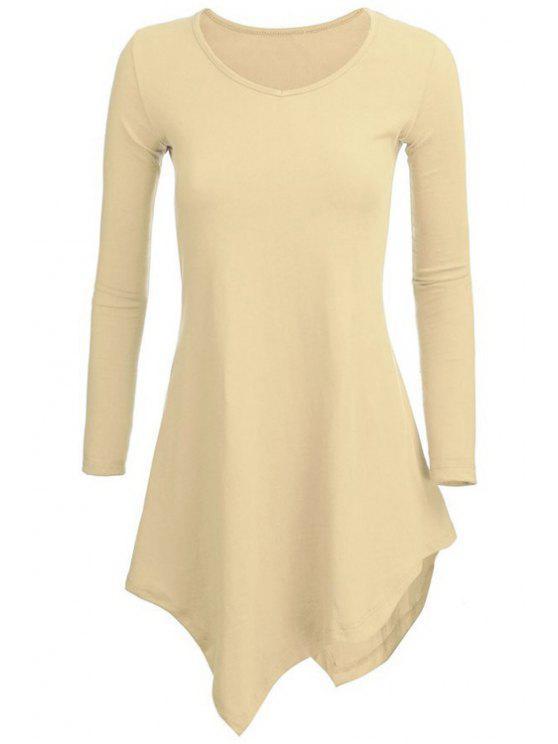 shops Irregular Hem V Neck Long Sleeve T-Shirt - BEIGE L