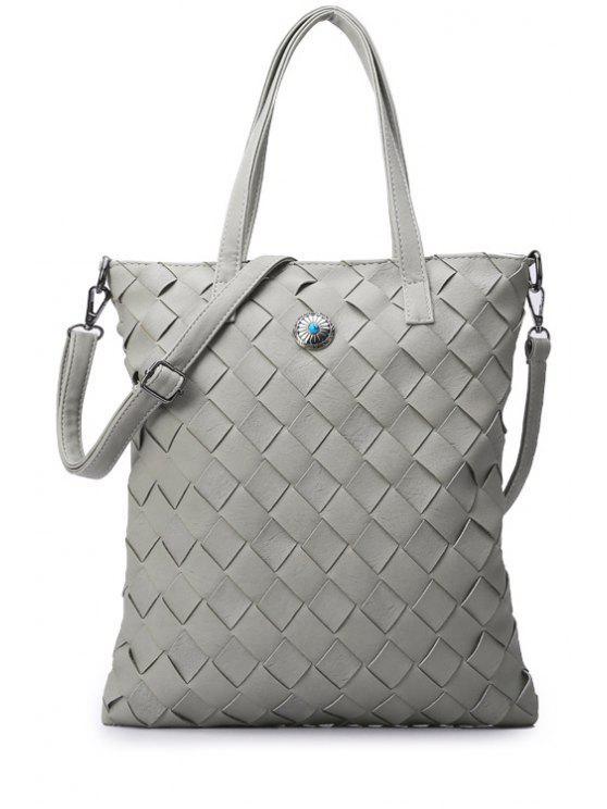 shops PU Leather Pure Color Weaving Shoulder Bag - LIGHT GRAY