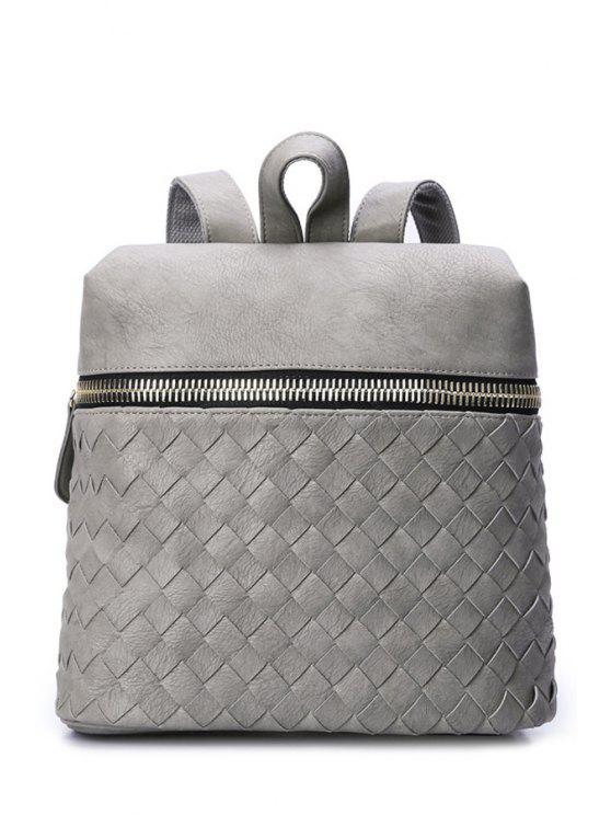womens Weaving Solid Color Zipper Satchel - LIGHT GRAY