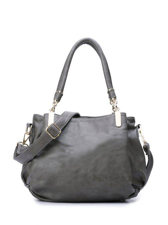 latest Metal PU Leather Gray Shoulder Bag - GRAY