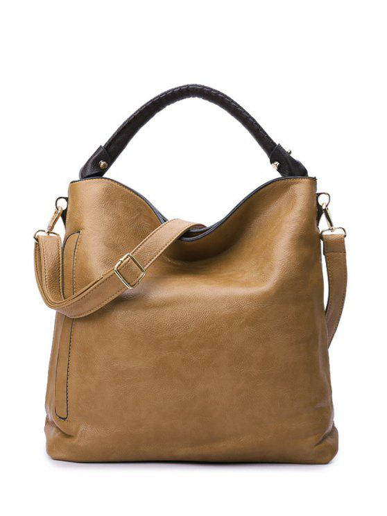 outfit Pure Color Metal PU Leather Tote Bag - CAMEL