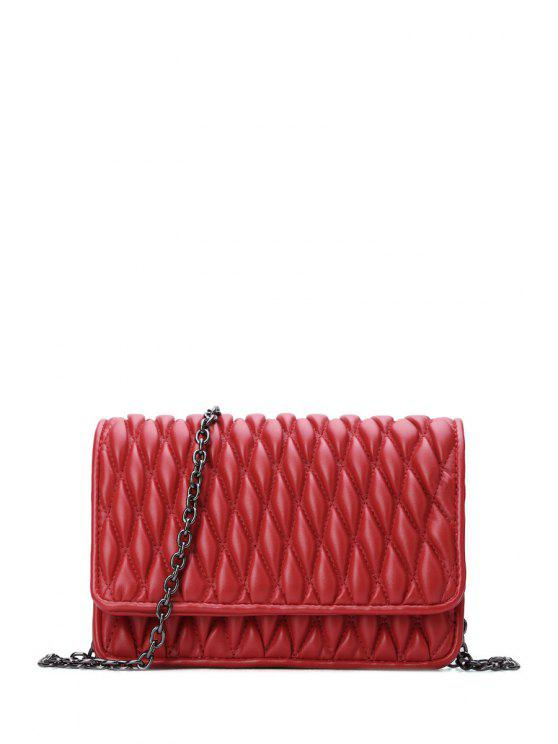 fancy Checked Cover Chains Crossbody Bag - WINE RED