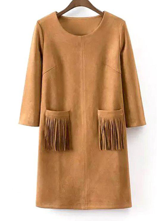 womens 3/4 Sleeve Fringed Two Pockets Suede Dress - KHAKI S