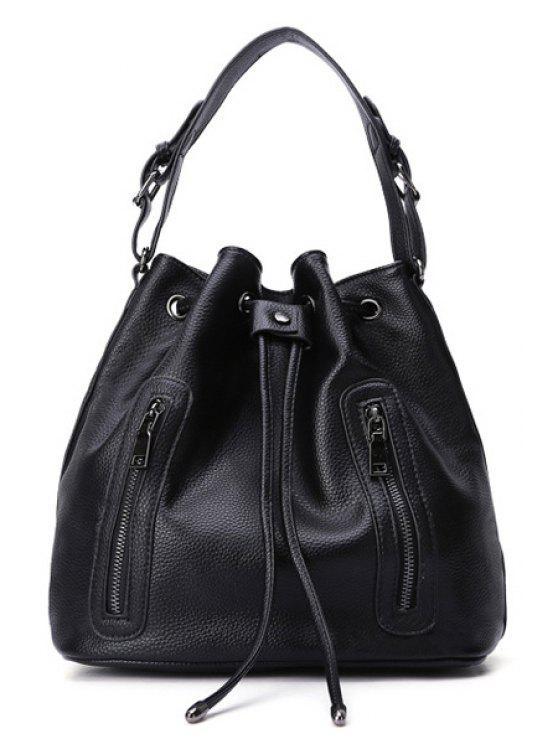 trendy String Embossing Black Shoulder Bag - BLACK
