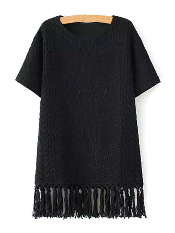 shop Short Sleeve Fringed Straight Dress - BLACK L