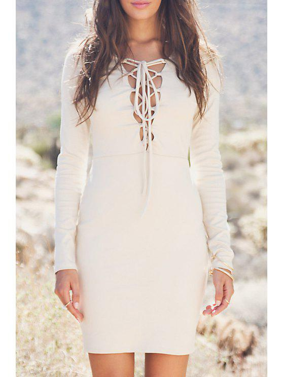 fashion Lace-Up Bodycon Solid Color Long Sleeves Dress - OFF-WHITE S