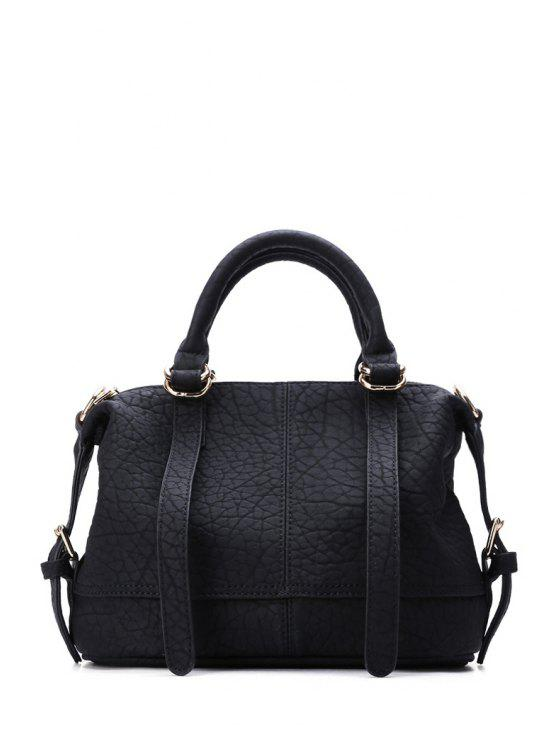 shops Stitching Embossing Buckle Tote Bag - BLACK