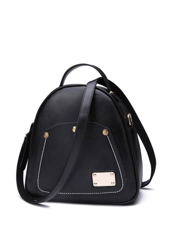 Metal color sólido Costura Satchel - Negro