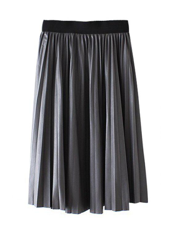 fancy Pleated A-Line Midi PU Leather Skirt - GRAY ONE SIZE(FIT SIZE XS TO M)