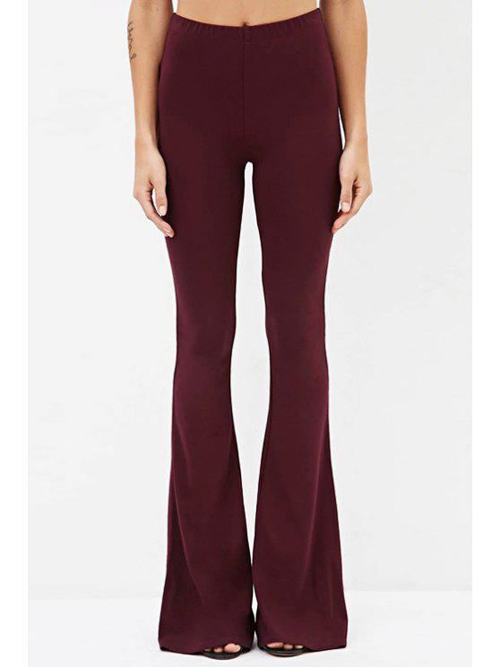 buy Solid Color Loose Fitting Casual Bell Bottom Pants - WINE RED XS