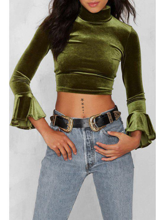 Green turtle neck long sleeve cropped t shirt green tees for Green turtle t shirts review