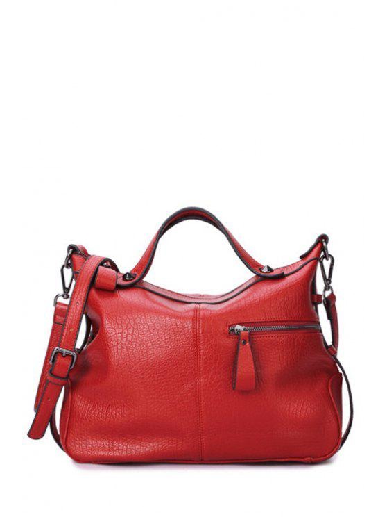 latest Embossing Solid Color Rivet Tote Bag - RED