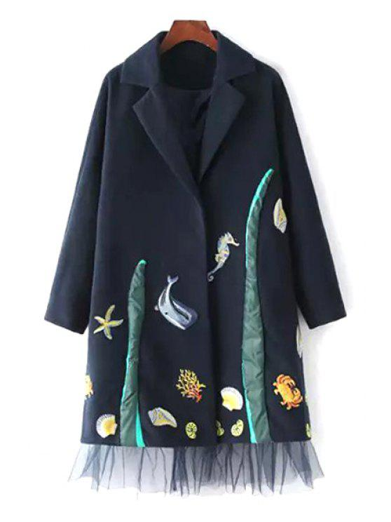 latest Lapel Embroidered Voile Hem Wool Coat - BLUE S