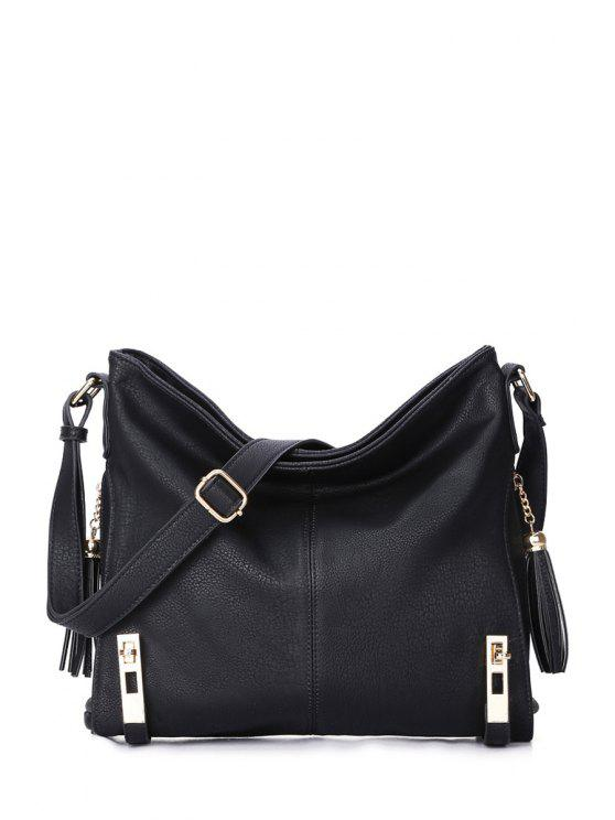 affordable Tassels Metal Solid Color Crossbody Bag - BLACK
