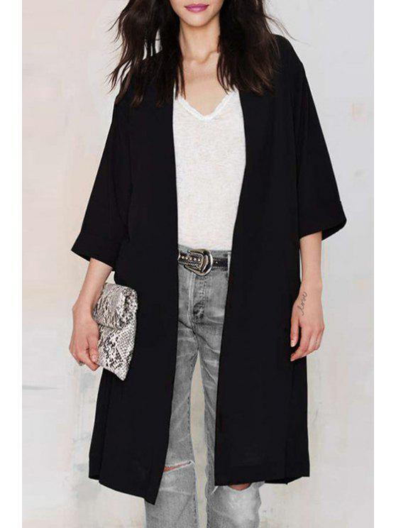 ladies Solid Color Back Slit Loose Fitting Long 3/4 Sleeves Blouse - BLACK XS