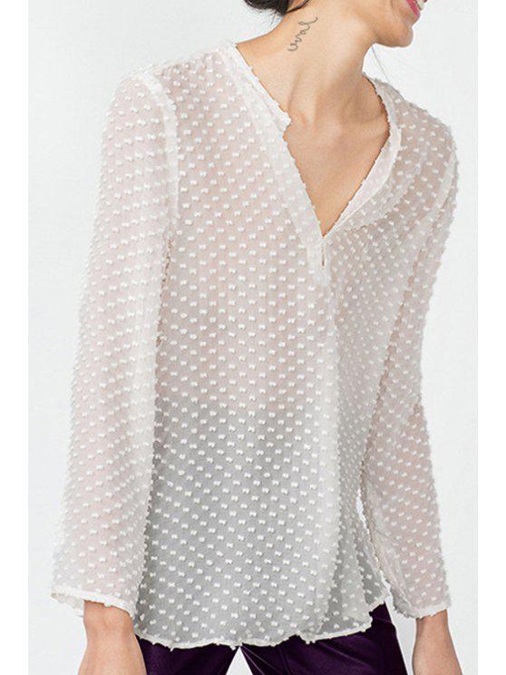 outfits Long Sleeve Polka Dot Chiffon Blouse - WHITE XS
