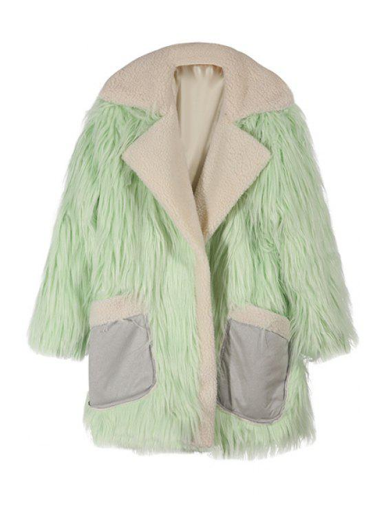 hot Pockets Spliced Faux Fur Turn-Down Collar Coat - LIGHT GREEN XS