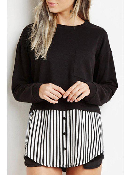 shop Stripe Spliced Round Neck Long Sleeve Sweatshirt - BLACK S