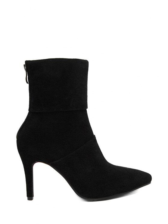 fashion Suede Stiletto Heel Pointed Toe Short Boots - BLACK 35