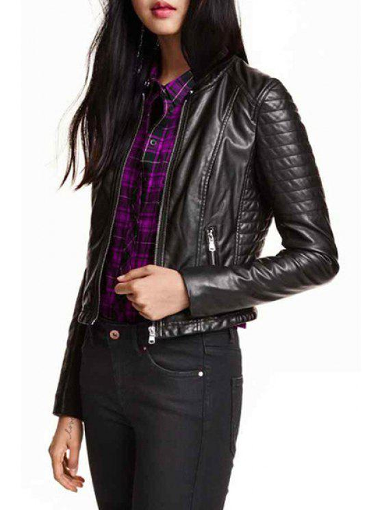 women Zip Pockets PU Leather Cropped Jacket - BLACK XS