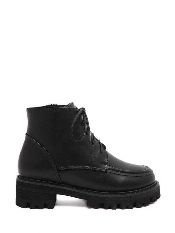 ladies Stitching Black Lace-Up Short Boots - BLACK 35