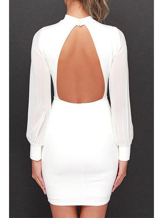 new Backless Stand Neck Long Sleeve Bodycon Dress - WHITE S