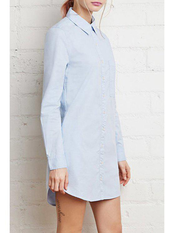 women Single-Breasted Long Sleeve Shirt Dress - BLUE XS