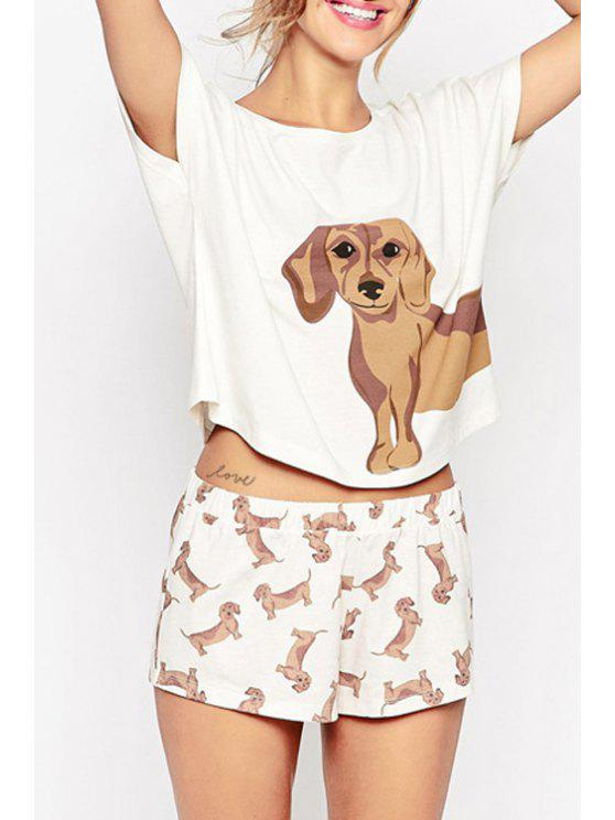 outfits Puppy Print Round Neck Short Sleeves T-Shirt - WHITE S