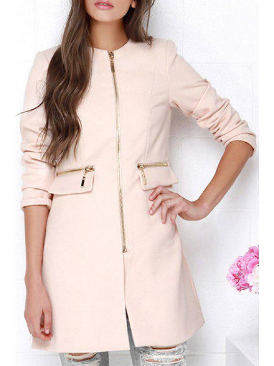 trendy Solid Color Zipper Embellished Spliced Round Collar Coat - PINK XS