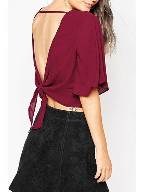 ladies Solid Color Backless Lace-Up Half Sleeves Blouse - WINE RED XS