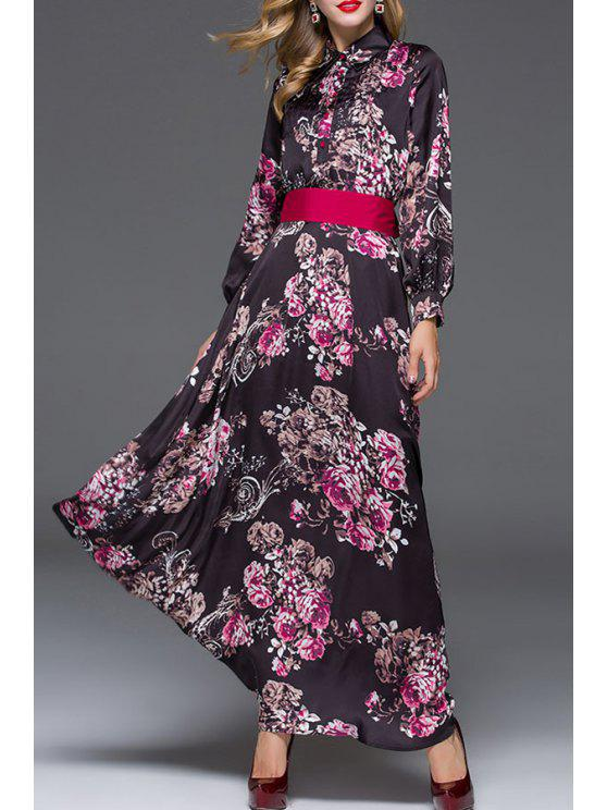sale Floral Turn Down Collar Self Tie Maxi Dress - COLORMIX S