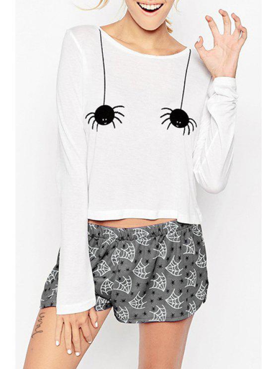 sale Hallowmas Cartoon Print Round Collar T-Shirt - WHITE XS