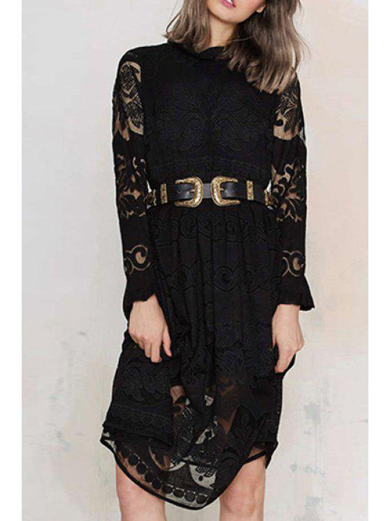 women Long Sleeve Crochet Flower Lace Dress - BLACK XS
