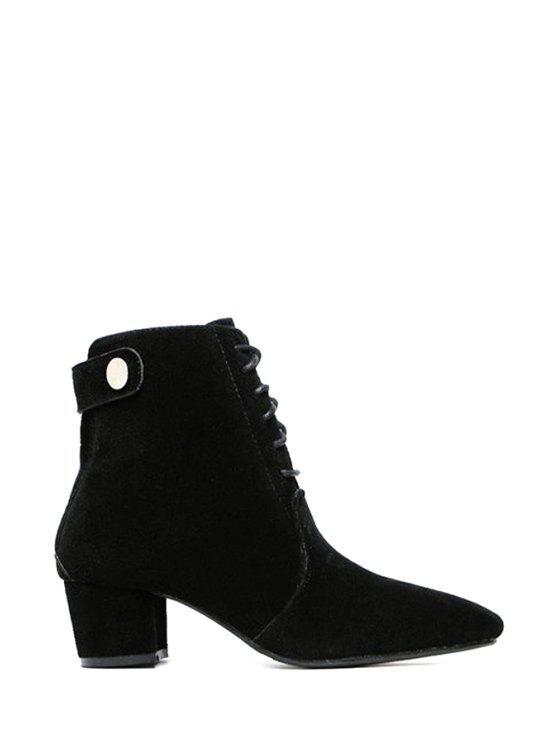 women's Suede Solid Color Lace-Up Short Boots - BLACK 35