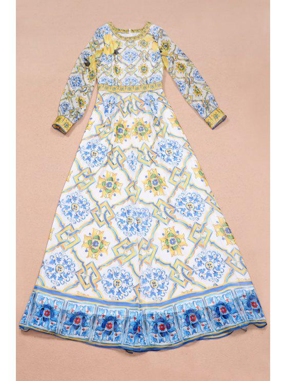 best Lemon Print Long Sleeve Maxi Dress - WHITE S