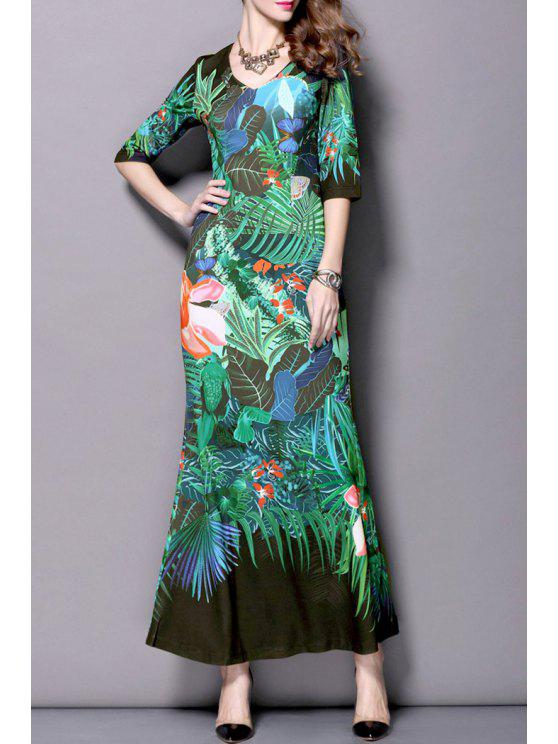 shop Floral Half Sleeve Mermaid Maxi Dress - BLACK S