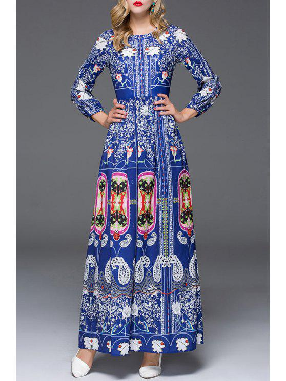 sale Tiny Floral Print Long Sleeves Maxi Dress - BLUE S