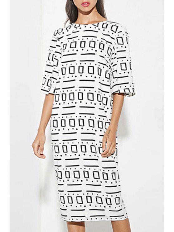 chic Half Sleeve Low Back Midi Dress - WHITE XS