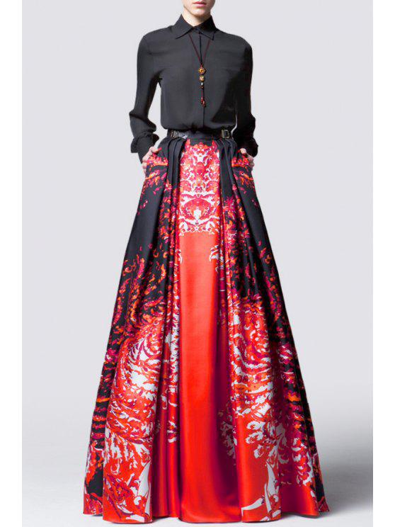 fashion Waisted Printed Color Block Buttons Maxi Dress - RED WITH BLACK S