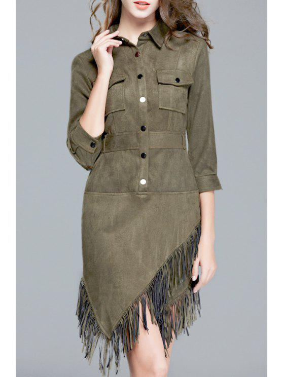 shop Waisted Solid Color Tassels Suede Flat Collar Dress - BLACKISH GREEN S