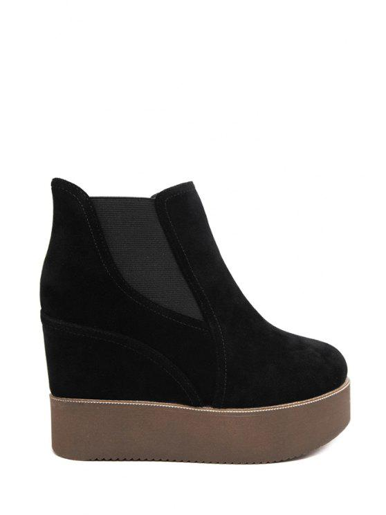 ladies Platform Black Flock Ankle Boots - BLACK 35
